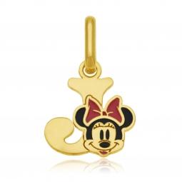Pendentif en or jaune et laque, lettre J, Minnie Disney