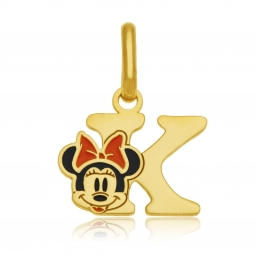 Pendentif en or jaune et laque, lettre K, Minnie Disney