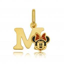 Pendentif en or jaune et laque, lettre M, Minnie Disney