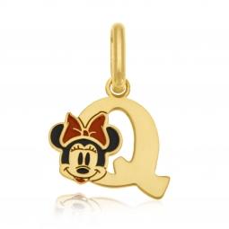 Pendentif en or jaune et laque, lettre Q, Minnie Disney