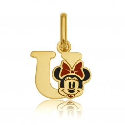 Pendentif en or jaune et laque, lettre U, Minnie Disney
