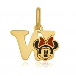 Pendentif en or jaune et laque, lettre W, Minnie Disney