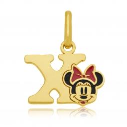 Pendentif en or jaune et laque, lettre X, Minnie Disney