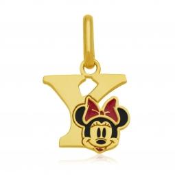 Pendentif en or jaune et laque, lettre Y, Minnie Disney