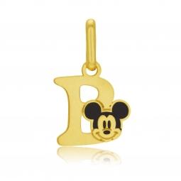 Pendentif en or jaune et laque, lettre B, Mickey Disney