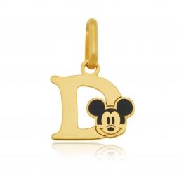 Pendentif en or jaune et laque, lettre D, Mickey Disney