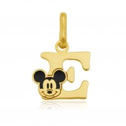 Pendentif en or jaune et laque, lettre E, Mickey Disney