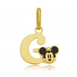 Pendentif en or jaune et laque, lettre G, Mickey Disney