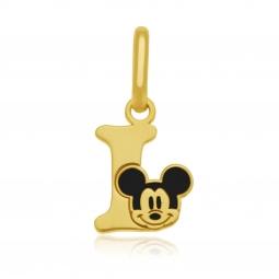 Pendentif en or jaune et laque, lettre I, Mickey Disney