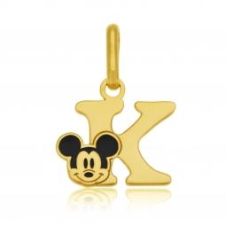 Pendentif en or jaune et laque, lettre K, Mickey Disney