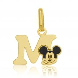 Pendentif en or jaune et laque, lettre M, Mickey Disney