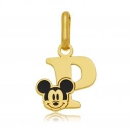 Pendentif en or jaune et laque, lettre P, Mickey Disney