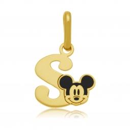 Pendentif en or jaune et laque, lettre S, Mickey Disney