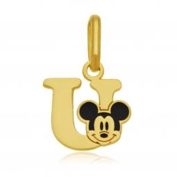Pendentif en or jaune et laque, lettre U, Mickey Disney