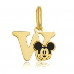 Pendentif en or jaune et laque, lettre W, Mickey Disney