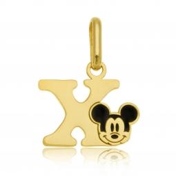 Pendentif en or jaune et laque, lettre X, Mickey Disney