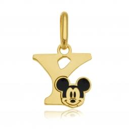 Pendentif en or jaune et laque, lettre Y, Mickey Disney