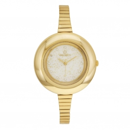 Montre femme,boîte polycarbonate et cristaux de synthèse, bracelet acier doré, verre plastique