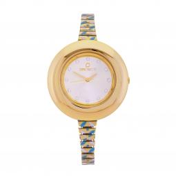 Montre femme, boîte en polycarbonate, bracelet en acier doré et laque, verre en plastique
