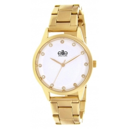 Montre femme, boîte en métal doré, bracelet en acier doré et verre minéral