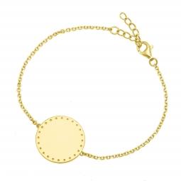 Bracelet en plaqué or, plaque ronde 19 mm, motif pointillé
