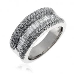 Bague en or gris, diamants baguettes et ronds
