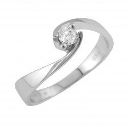 Bague solitaire en or gris, diamant