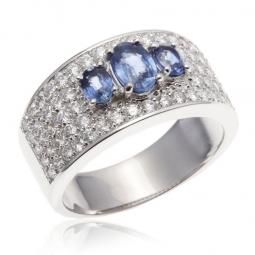 Bague or gris 3 saphirs et diamants