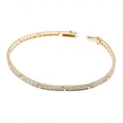Bracelet barrettes en or jaune et rhodié, diamants 19.5cm