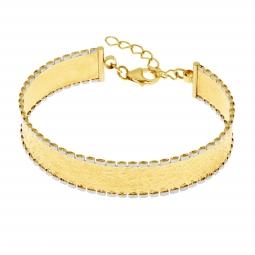 Bracelet jonc en or jaune et rhodié