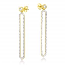 Boucles d'oreilles en or jaune et rhodié, diamants
