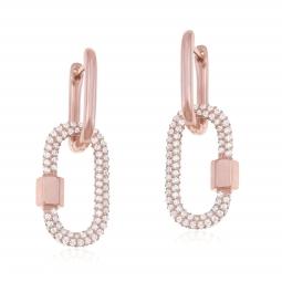 Boucles d'oreilles en argent doré rose et oxydes de zirconium