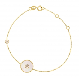 Bracelet en or jaune, nacre et oxydes de zirconium