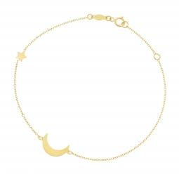 Bracelet en or jaune, lune et étoile