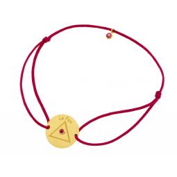 Bracelet cordon en or jaune et oxydes de zirconium, Feu