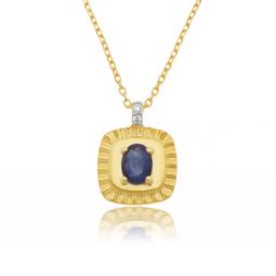 Collier en or jaune et rhodié, diamants et saphir