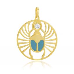 Pendentif en or jaune, oxyde de zirconium et laque, scarabée