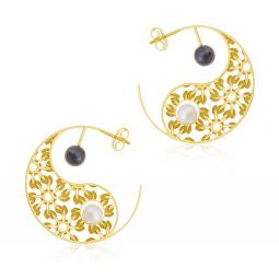Boucles d'oreilles en or jaune, perle de culture et hématite