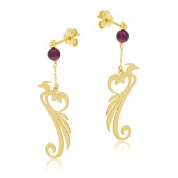 Boucles d'oreilles en or jaune et grenat, phénix