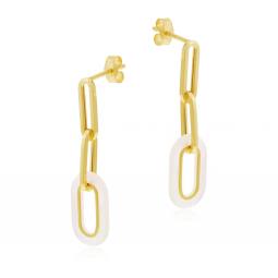 Boucles d'oreilles en or jaune et nacre