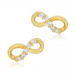 Boucles d'oreilles en or jaune et oxydes de zirconium, infini