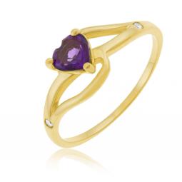 Bague en or jaune, améthyste et diamants