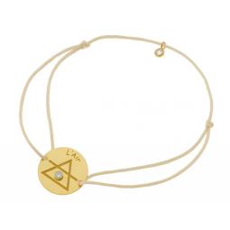 Bracelet en or jaune, cordon et oxydes de zirconium, Air