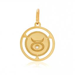 Pendentif zodiaque en or jaune et diamant, taureau