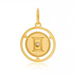 Pendentif zodiaque en or jaune et diamant, gémeaux