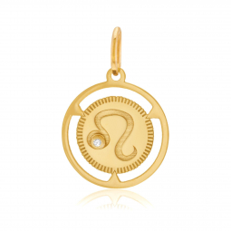 Pendentif zodiaque en or jaune et diamant, lion